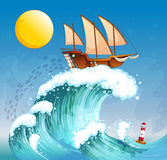 A ship above the giant waves Stock Photography