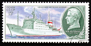 Ship Academician Mstislav Keldysh, series Scientifically - an exploratory fleet USSR, circa 1980 Royalty Free Stock Photo