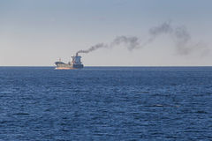 Ship in Aegean sea. View on ship in Aegean sea Royalty Free Stock Image