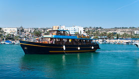 Ship in Agia-Napa harbor Royalty Free Stock Photos