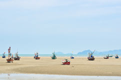 The ship aground. Small fishing boats, Many were stranded beach Royalty Free Stock Images