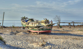 Ship aground and abandoned Royalty Free Stock Photos