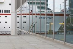 Ship Ahoy. Large ocean going ship moored at Canary Wharf in London Stock Photo