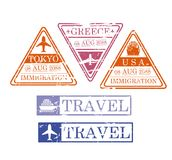 Ship and airplane travel stamps in triangular and rectangular shape of tokio greece and usa in colorful silhouette. Vector illustration Stock Images