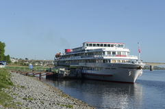 Ship Alexander Suvorov. Moored in the river port city of Nizhny Novgorod. a river cruise on the Volga River. Russia. June 2014 r Royalty Free Stock Photo