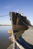 Ship along the quayside. (Antwerp, Belgium Stock Photo