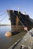 Ship along the quayside Stock Photography