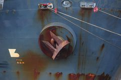 Ship anchor on cargo ship Royalty Free Stock Image