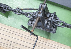 Ship anchor chain on the boat Royalty Free Stock Photography