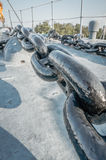 Ship anchor chain on deck Royalty Free Stock Photos