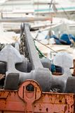 Ship anchor in a dock Royalty Free Stock Image