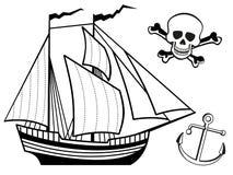Ship, anchor and human skull Royalty Free Stock Photography