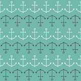 Ship anchor in shapes of heart. Nautical sign symbol. Seamless Pattern Wrapping paper, textile template. Blue background. Flat des Stock Image