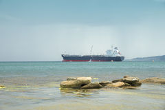The ship is at anchorage near Feodosia. Crimea. Stock Photography