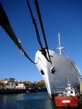 Ship anchored. Cargo ship anchored in a harbor Royalty Free Stock Image
