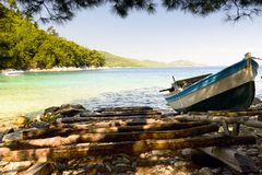 Ship anchored in the bay. Greece. Royalty Free Stock Photography