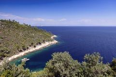 Ship anchored in the bay. Greece. Stock Photos