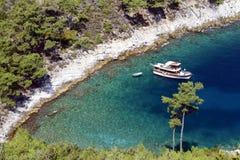 Ship anchored in the bay. Greece. Stock Photo