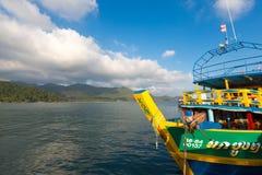 Ship anchored at the pier of Bang Bao village. Koh Chang island Stock Image