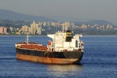 Ship anchoring in a sea inlet Royalty Free Stock Photos