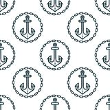 Ship anchors with chain border spattern Stock Image