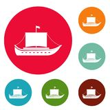 Ship ancient icons circle set vector. Isolated on white background Stock Photo