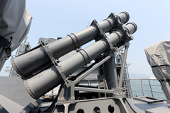 Ship anti-ship missile lock. KAGAWA, JAPAN - August 05, 2015; A photo of an Aegis-equipped Destroyer JS SAMIDARE in Takamatu port. Ship anti-ship missile lock Stock Photos