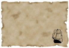 Ship On Antique Paper Royalty Free Stock Photos