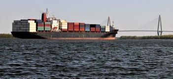 Ship approaching bridge royalty free stock image