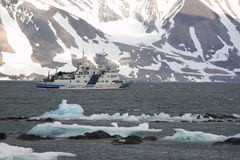 The ship in Arctic fjord Stock Photos