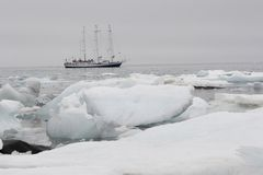 Ship in Arctic ice Stock Photo