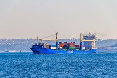 Ship Arkas sails Bosphorus Stock Photography