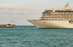 Ship arrival in Yalta port on a Black Sea Royalty Free Stock Photography
