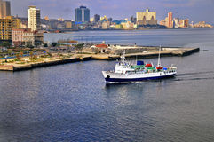 Ship arriving to havana bay Royalty Free Stock Photos