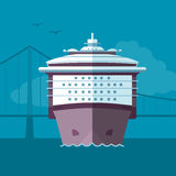 Ship arriving to port Royalty Free Stock Photo