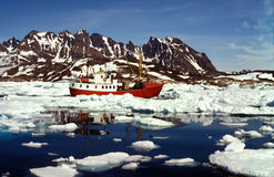 Ship in artic sea Stock Images