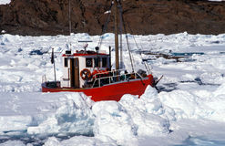 Ship in artic sea Royalty Free Stock Images