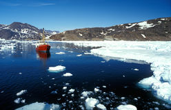 Ship in the artic sea by eastern Greenland Stock Image
