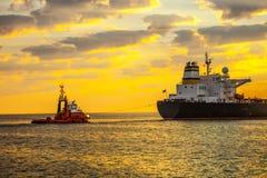 Ship At Sunrise Royalty Free Stock Images