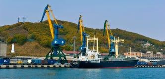 Ship Atlas Shine at the dock port. Nakhodka Bay. East (Japan) Sea. 20.10.2012 Stock Photography