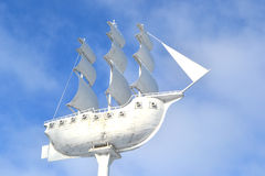 Ship on the background of sky. Ship on the background of the sky as a white cloud monument fleet stock image