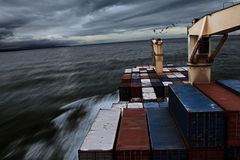 Ship in bad weather. Ship Sailing in Bad weather, Overcast clouds in the middle of the pacific royalty free stock image