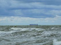 Ship in Baltic sea. Ship floating on water in Baltic sea, Lithuania Stock Photography