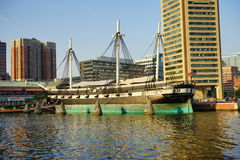 A ship in Baltimore inner harbor. Scenic area and downtown royalty free stock images