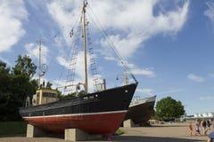 Ship on bank Stock Photography