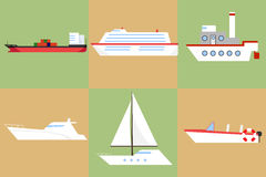 A ship, a barge, a yacht, a boat. Flat design,  illustration Stock Photos