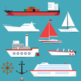 A ship, a barge, a yacht, a boat. Flat design,  illustration Royalty Free Stock Photography