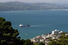 Ship in the bay. Ship arrives in Wellington, New Zealand Stock Photos