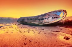 Ship on the beach. Royalty Free Stock Images
