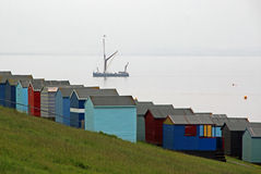 Ship and beach huts Stock Photos